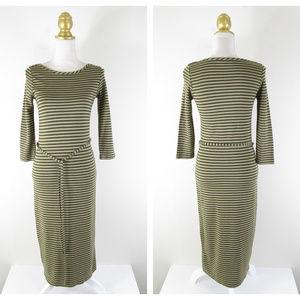 Boden Beige Tan Striped Belted Midi Sheath Dress
